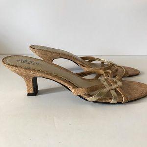 SEYCHELLES   Cork Kitten Heel Sandal Gold Accents